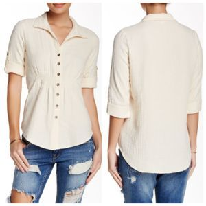 NWT Lovestitch Blouse L Cinch Waist Top Shirt